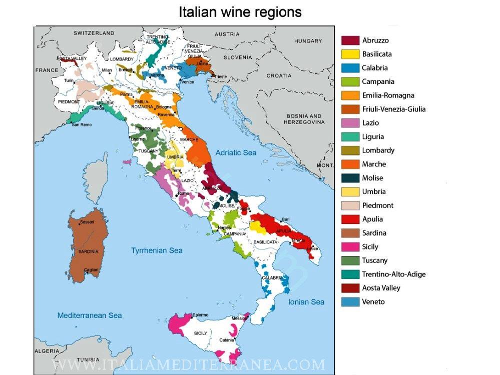 Italia Mapa Vinos